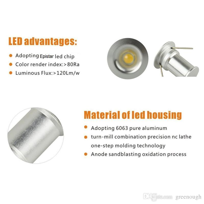 1W 15mm Mini LED Under Cabinet Light Downlight Floor Light Recessed Stair Lights Spotlight Ceiling Light