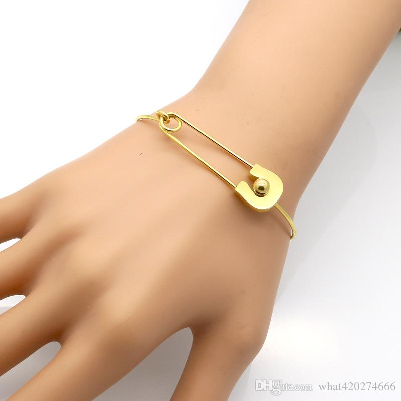 Personality Vintage Simple Stainless Steel Metal Plain Nautical Pin Wire Bangle Thin Gold Color Bracelet For Birthday Gift