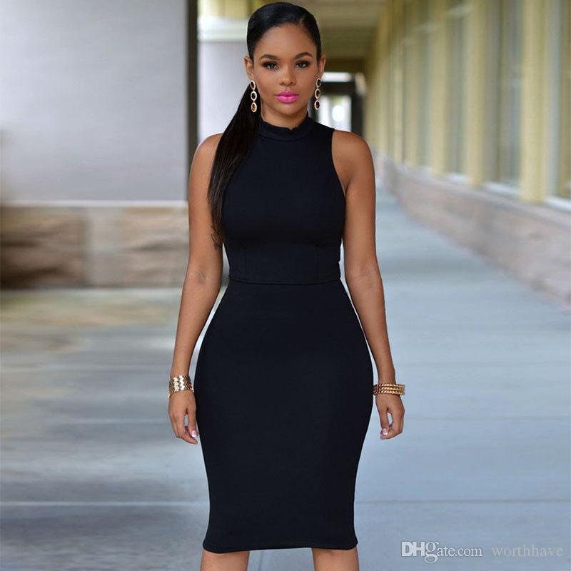 06ab7f4f972 Acheter 2017 Fashion Clubwear Party Dress Femmes Party Dress Sans Manches  Au Niveau Du Genou Noir Blanc Vert Jaune Bleu Couleur De  9.05 Du Worthhave  ...