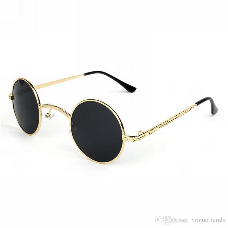 84b4db74e2 Small Retro Inspired Gothic Steampunk Metal Round Frame Unisex Lennon  Sunglasses 46mm Circle Lens Wide Bridge Bifocal Sunglasses Retro Sunglasses  From ...
