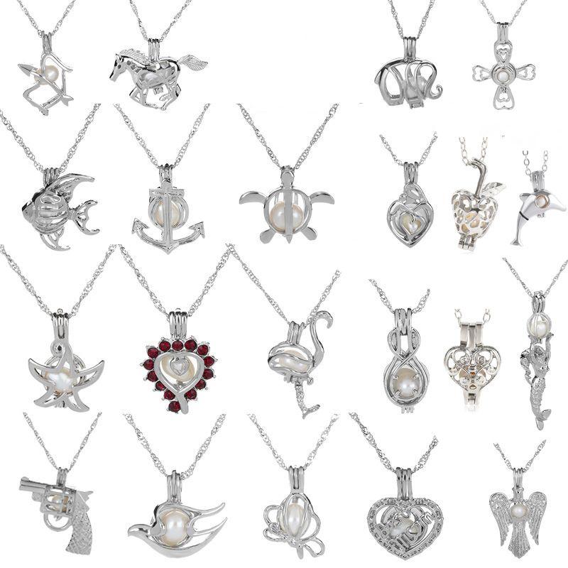 18kgp amor desejo pérola / gem beads gaiolas de medalhão pingentes, diy pérola colar charme pingentes montagem