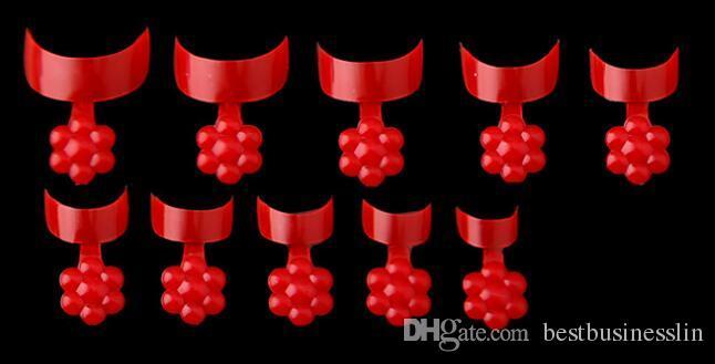 500 Unids / set Rojo Negro Blanco Color Patrón de Flores El Ciruelo Diseño Nail Art Tips Acrílico Falso Nails Art Fake Nail Tips