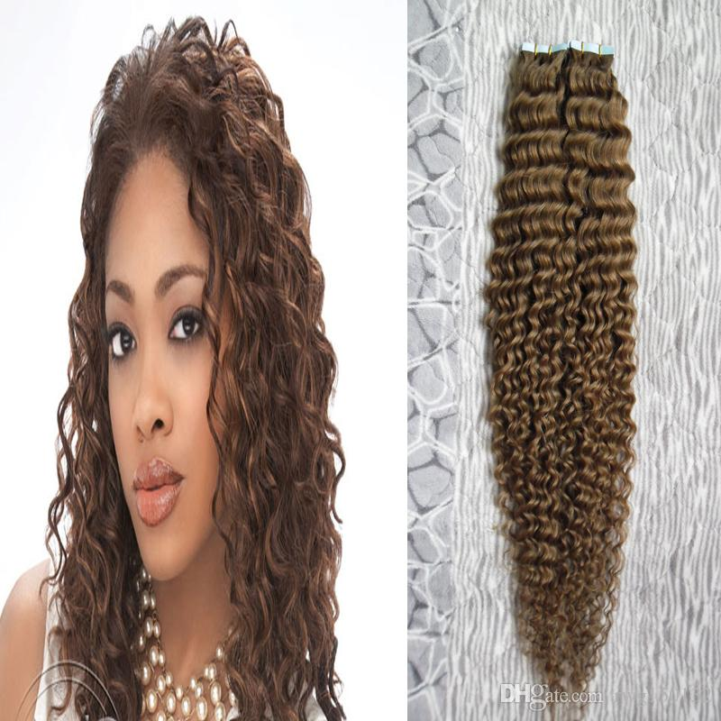 Human hair tape extensions blond 100g deep curly seamless tape in 10 pmusecretfo Gallery