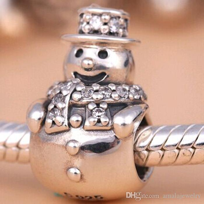 2016 Winter Loose Bead 925 Sterling Silver Snowman Charm Fits European Pandora Jewelry Bracelet Necklace & Pendant Christmas Gifts