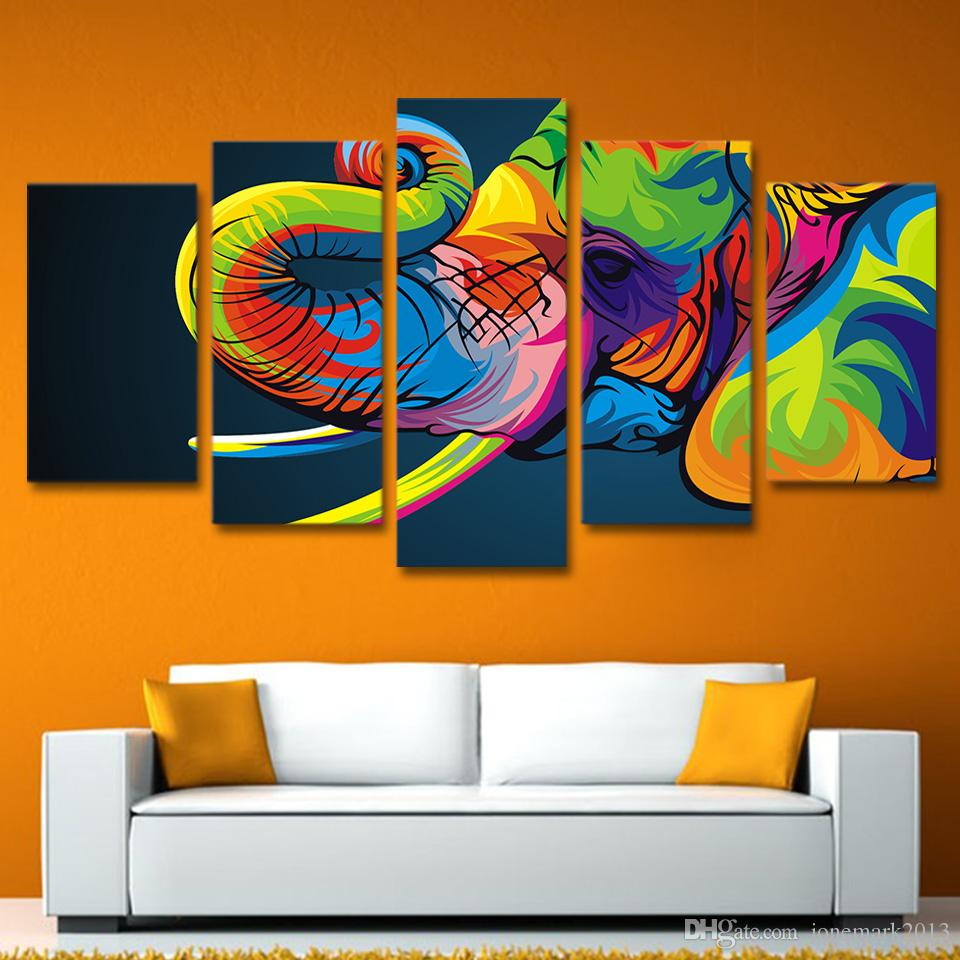 Framed HD Printed Colorful elephant Painting Canvas Print room decor print poster picture canvas /ny-2650