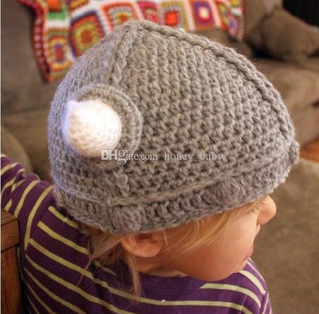 Children Newborn Infant Toddler Hat Crochet Viking Horn Animal Cosplay Skullies Halloween Headwear Winter Boys Girls Knitted Christmas Caps