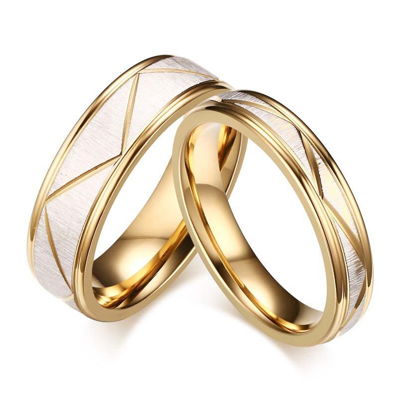 wedding ring couples matching rings women s men s gold color love