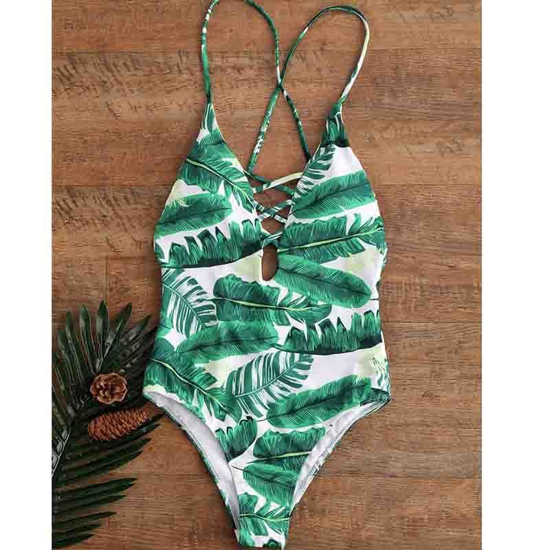 191d4a4dd72 One-piece Swimsuit Leaves Print Swimwear Women Criss Cross Bikini ...