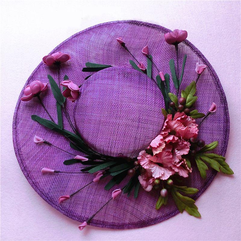 Grosshandel Vintage Floral Tull Leinen Lila Bridal Hat Hohe Qualitat
