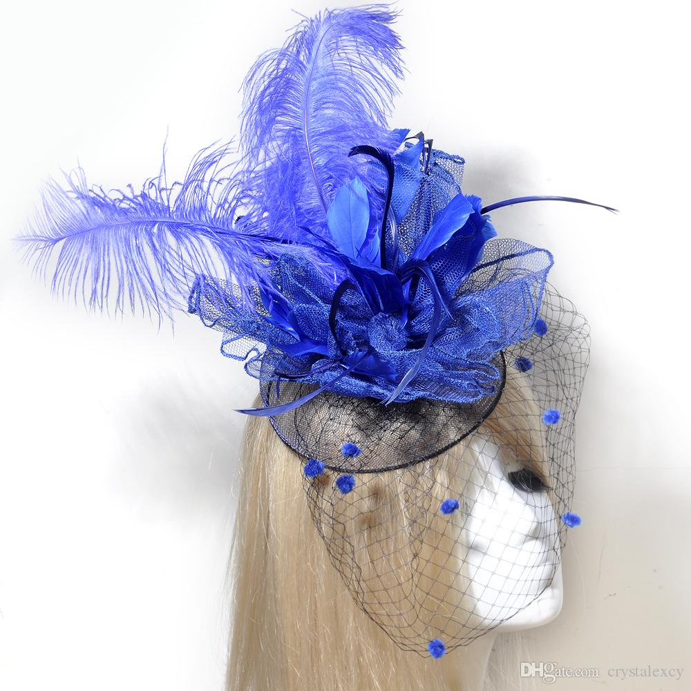 Blue Birdcage Feather Fascinator Hat Handmade Wedding Race Cocktail Hair Clip Hairpieces For lady