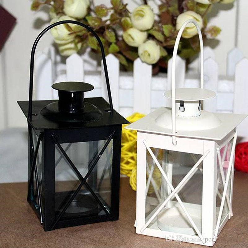 Black/White Metal Candle Holders Iron Lantern Hanging Candlestick Wedding Candelabra Centerpieces Decoration