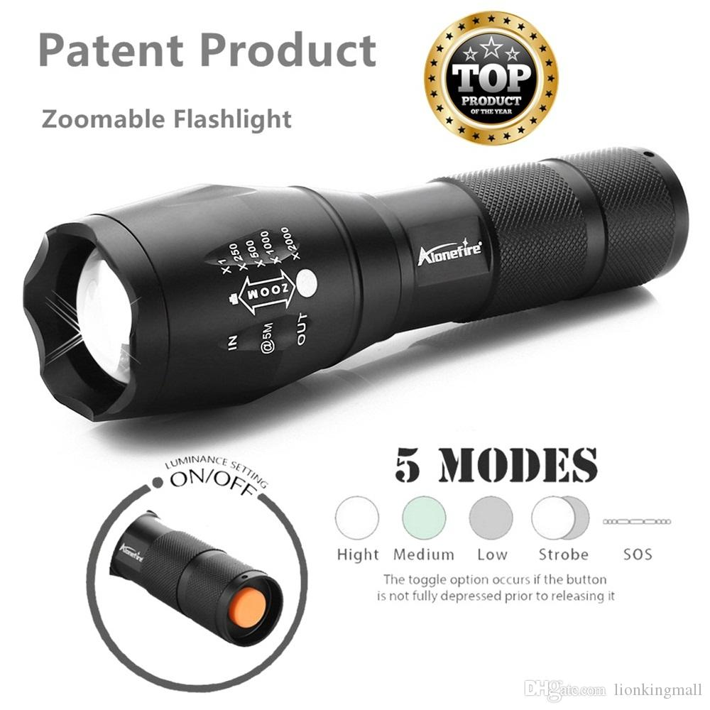 AloneFire E17 Ultra Bright CREE XML T6 zoom LED Flashlight 5 Modes 3800 Lumens Zoomable LED Torch gift set