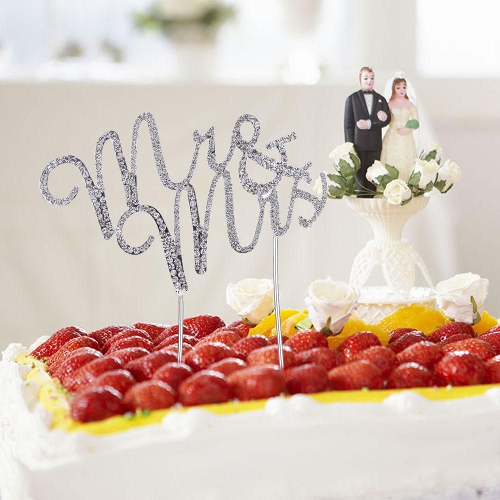 2018 Wholesale Romantic Wedding Cake Topper Bling Bling Rhinestone ...