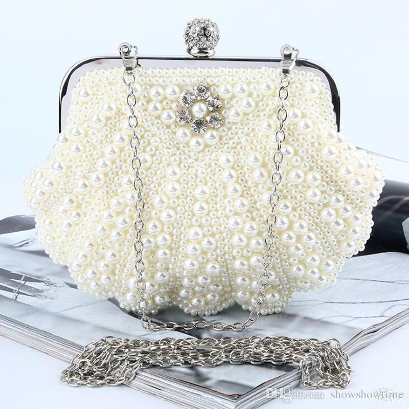 Schöne Perlen weiß Elfenbein Braut Perlen Handtaschen Hochzeit Tasche Champagner Perle in Frauen Mädchen Handtaschen Bankett Abend Party Prom Clutch Bag