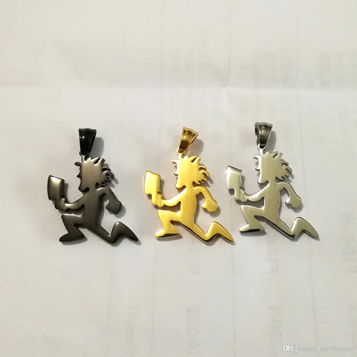 ICP HATCHETMAN Collier avec pendentif en acier inoxydable psychopathique argent noir doré