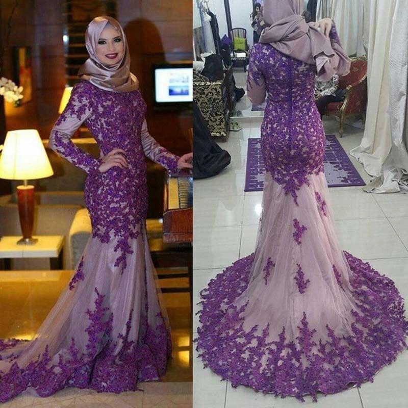 Compre Purple Lace Manga Larga Musulmanes Vestidos De Noche ...