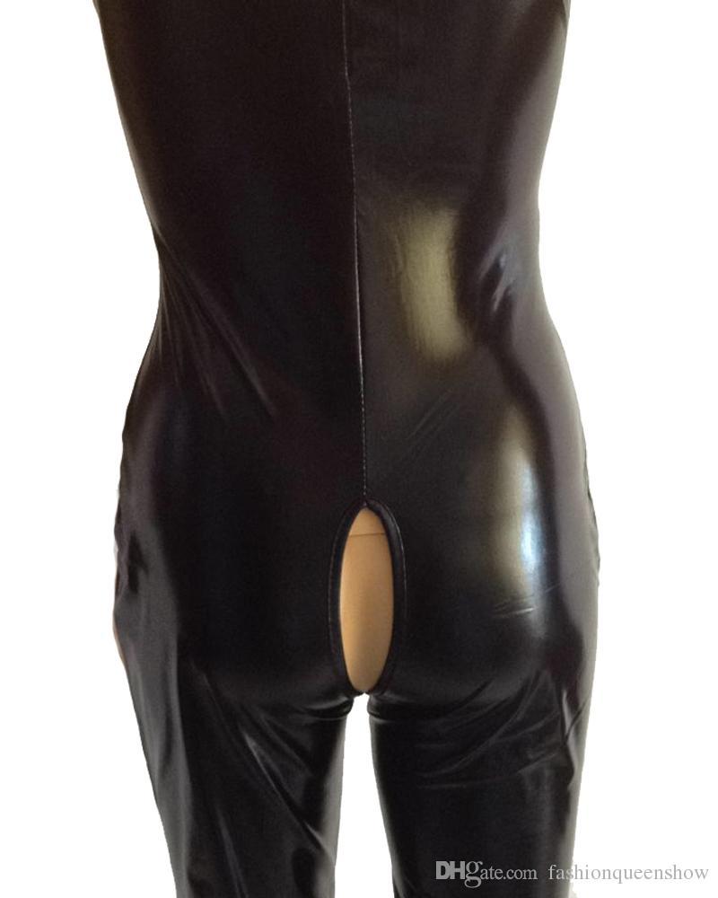 Faux cuir Bodycon Jumpsuit Body noir ouvert entrejambe à lacets Sexy jeu de rôle Fetish Wear Catsuit taille érotique S-5XL