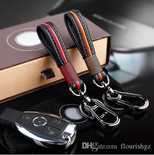 Мода натуральная кожа Интертекстура стайлинга автомобилей Авто домашнего использования брелок брелок брелок кольцо из нержавеющей стали хороший подарок специальный