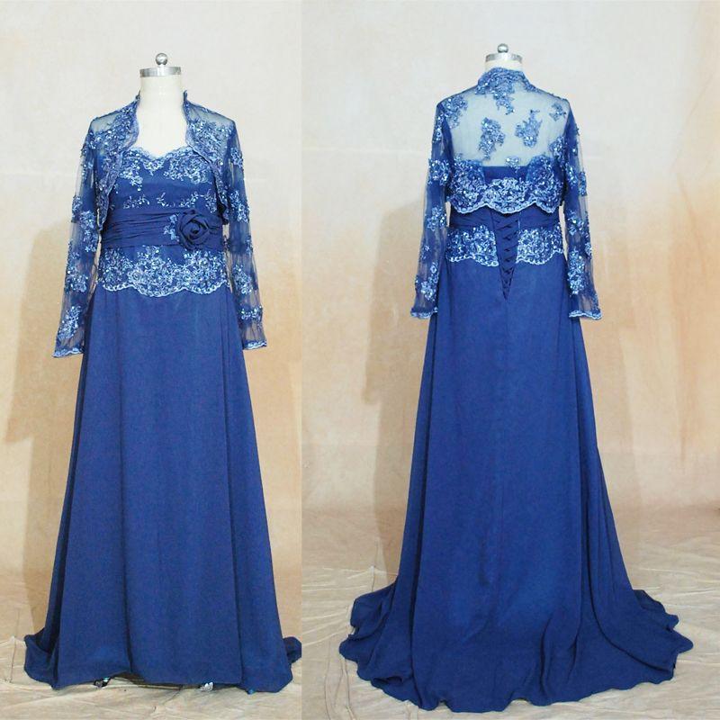 Marinblå mor till brudklänningar 2017 bröllop gästklänning spets applikationer a-line älskling chiffong med jacka kväll klänningar reella bilder