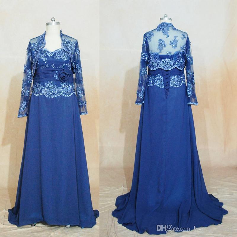 Navy Blue Mother of Bridal Gowns 2017 웨딩 게스트 드레스 레이스 Appliques A-Line 연인 시폰 재킷 이브닝 드레스 실제 이미지