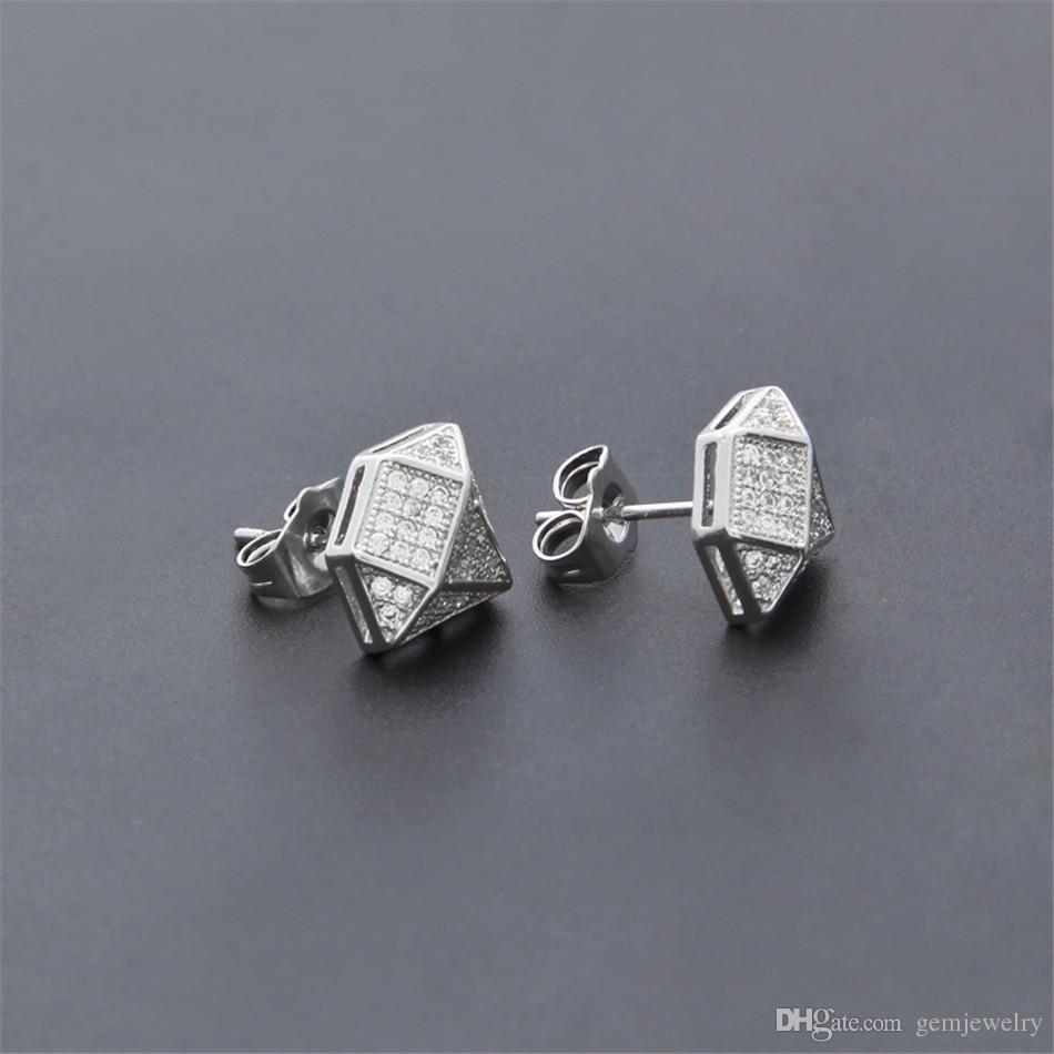 New Men Women Fashion Geometric shape Lced Out Full Zircon Rhinestone Crystal Silver Stud Earrings Hip hop Jewelry