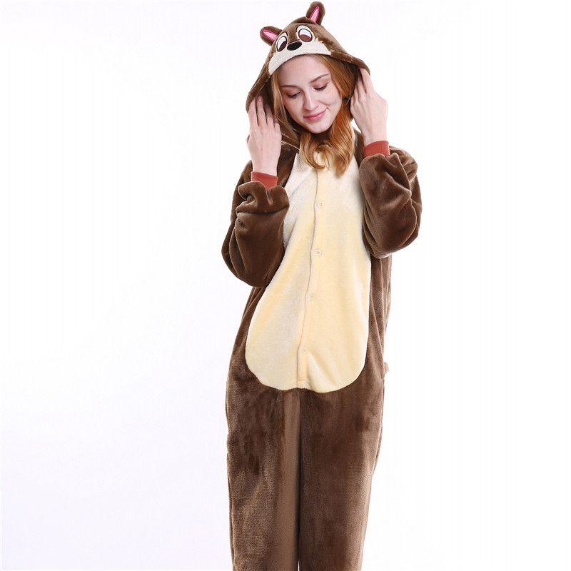 9060c3b3a076 Brown Chipmunk Onesies For Men Women Unisex Pajama Sets Animal Cartoon  Cosplay Theme Costume Kangaroo Onesie Sleepwear MX 005 Halloween Costumes  For Four ...