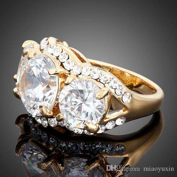 Neoglory Jewelry Gold Plated Swarovski elements Gold Color Stellux Austrian Crystal Clear Round Cubic Zirconia Ring