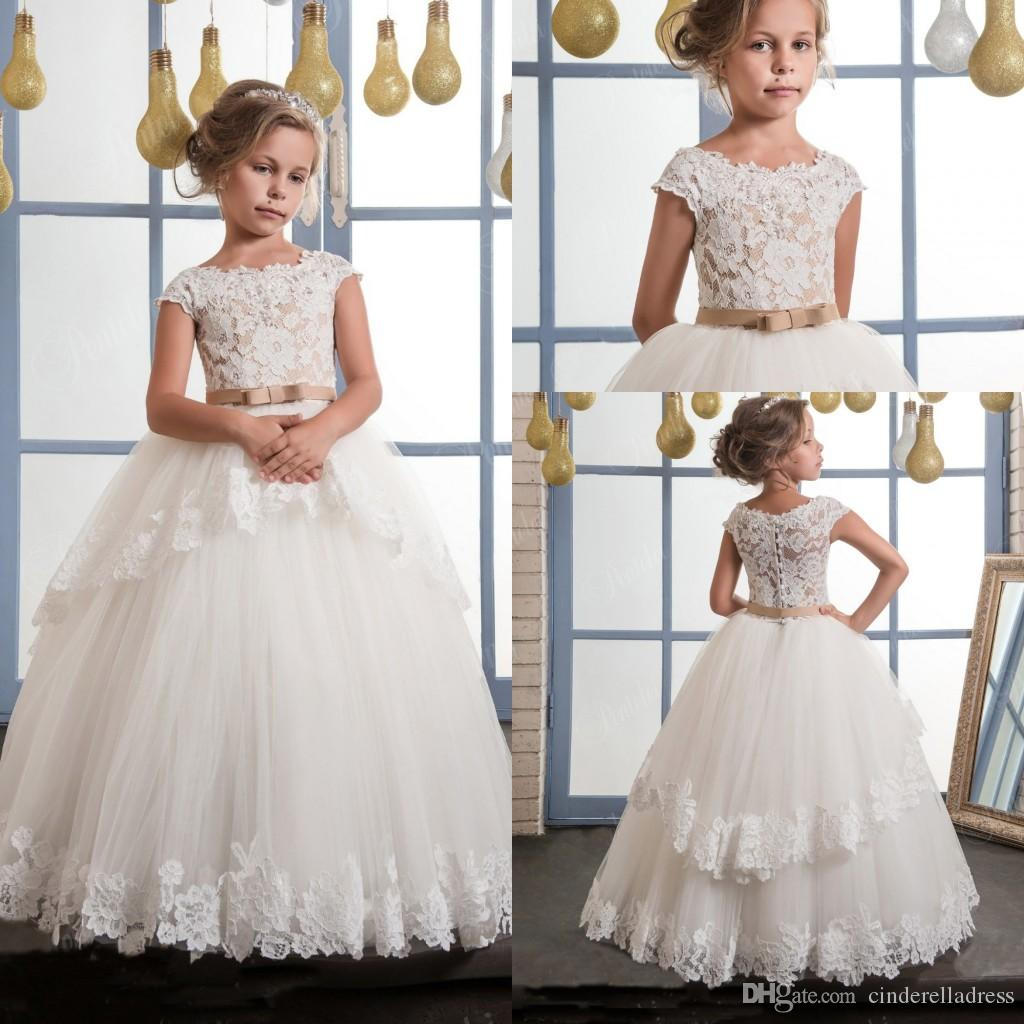 2017 Glitz Flower Girls Dresses Boat Neck A Line Lace Appliqued With