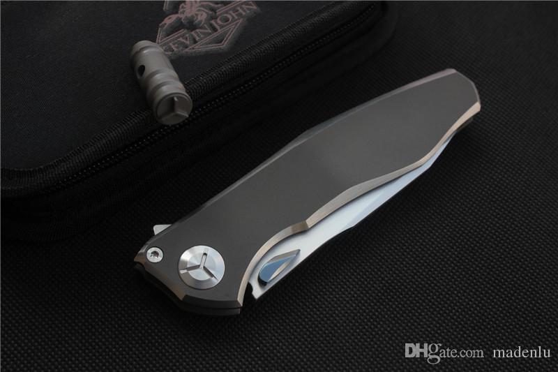 Sıcak satış !! Kevin John VENOM 4 Kanat M390 KATı Titanyum Flipper katlanır bıçak seramik rulman kamp avcılık pocket knife EDC araçları