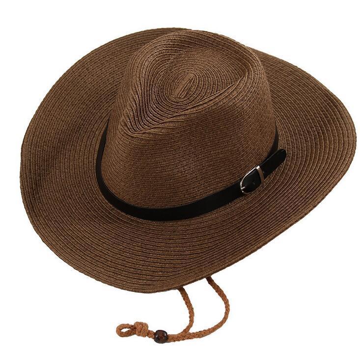 Acquista Cappelli Da Cowboy Da Uomo Con Treccia Di Paglia Con Fibbia  Cappello Da Uomo Americano Occidentale Cappello Da Spiaggia Da Donna Solido  Kaki A ... e8e76abc9f26
