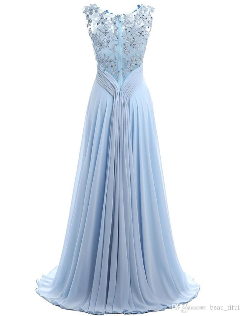Light Sky Blue Evening Gown Cap Sleeve 2019 Robe Ceremonie Femme Long Elegant Prom Dresses Floor Length Party Gowns