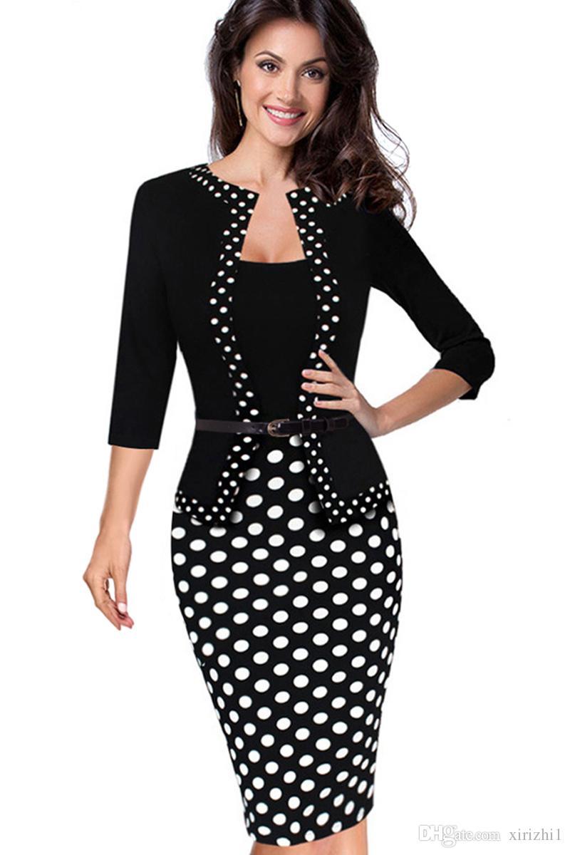 großhandel neue ankunft gefälschte zweiteilige kleid set drei viertel Ärmel  stricken contton polka dot, figurbetontes kleid schwarz mit gürtel von