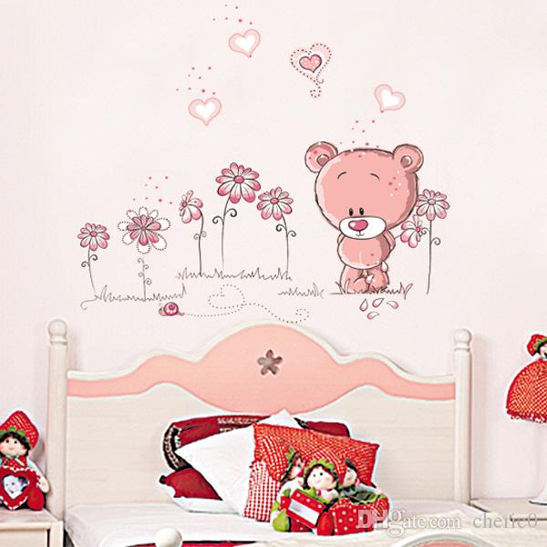 Cute Pink Cartoon Animal Love Bear Flower Baby Children Bedroom Room Decor  Wall Stickers Kids Nursery Decal Sticker Girl Gift Removable Wall Stickers  Quotes ...