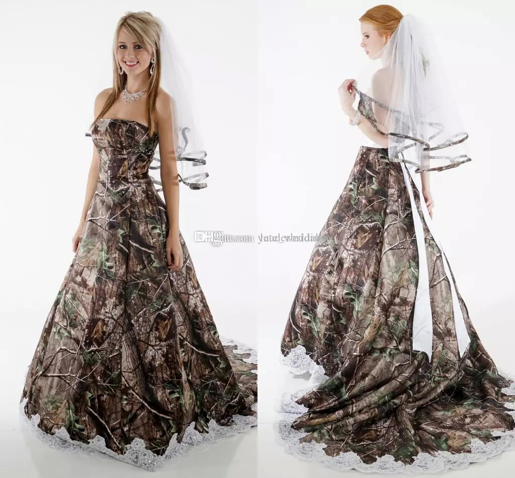 Classy Camo Wedding Ideas: Discount Elegant Camo Wedding Dresses Strapless Appliques