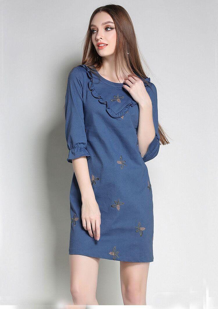 Printed Floral Denim Women Dress Sexy Slim Casual Women Mini Plus Size Dress Fashion Spring Lady Dresses