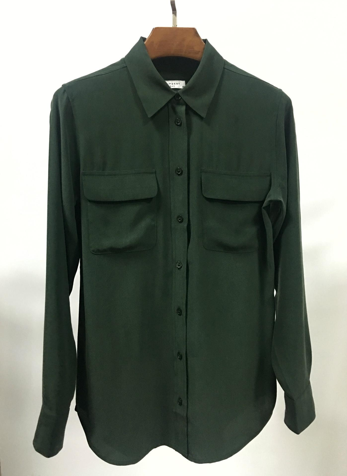 Women's Dark Green Silk Blouse with Double Pocket Lady's Formal ...