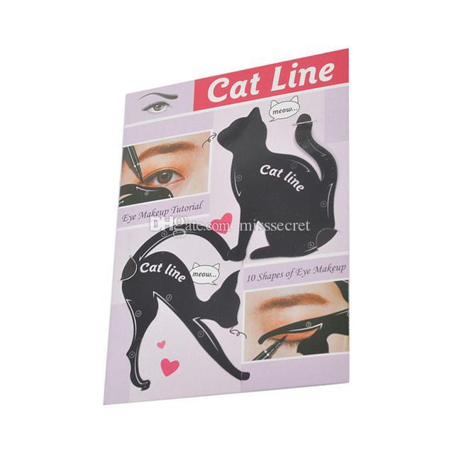 2 in 1 Kedi Eyeliner Stencil İşlevli Göz Stencil Kedi Eyeliner Stencil Göz Kalemi Şablon Kartı Balık Kuyruğu Için Çift Kanat Eyeliner Stenci