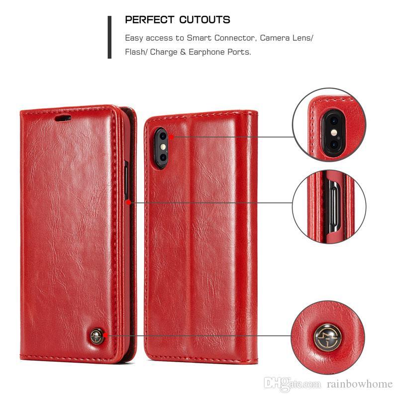 Case Caseme Retro Cas magnétiques pour iPhone 11 PRO XS Max xr Samsung S20 Ultra Note10 Portefeuille Portefeuille Portefeuille Couvercle d'aimant