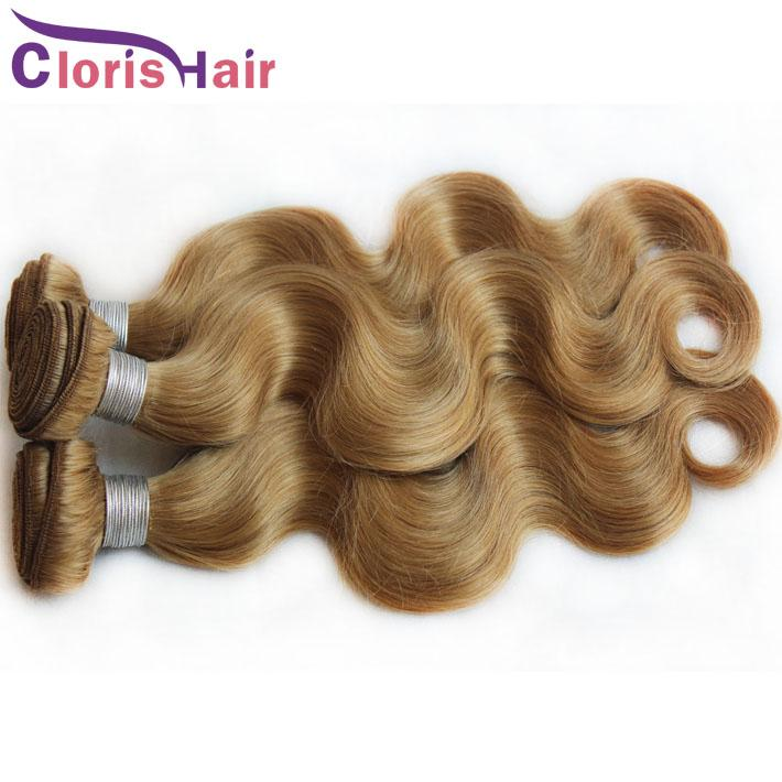 Best #27 Honey Blonde Peruvian Hair Extensions 3 Bundles Strawberry Blond Body Wave Peruvian Human Hair Weave Weft For Sale