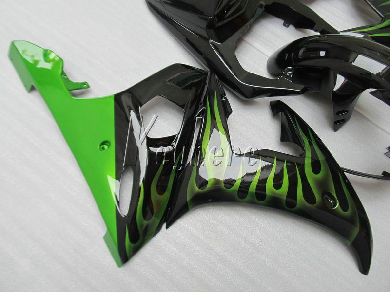 New hot moto parts fairing kit for YAMAHA R6 2003-2005 green flames black fairings set YZF R6 03 04 05 IY33