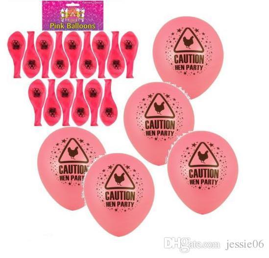 Caution Partie De Poule Imprimé Rose Ballons Décoration Accessoires De Mariée À Être Bachelorette Poule Nuit Carnaval Drôle Déguisement Ballon En Latex
