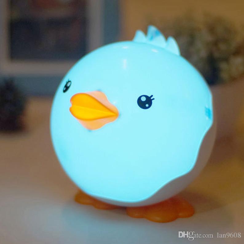 Small ducks night light table head lamp sleep eye care usb charge touch dimming cute cartoon shape