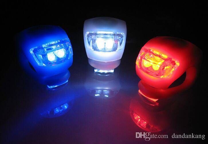 cabeça de bicicleta LED acende Silicone Ciclismo principal da parte dianteira da roda traseira LED Flash Light Lamp noite bicicleta luzes Warnning segurança