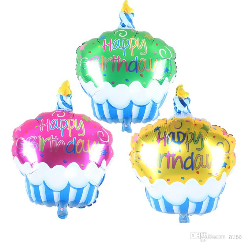 Birthday Cake Candle Air Balls Helium Foil Balloons Happy Party Decorations Kids Baloon Festival Balloon Popping