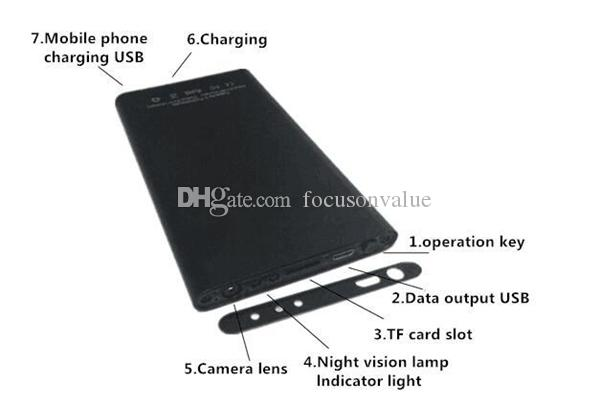 Enregistreur visuel mobile de banque de puissance d'appareil-photo H2 de plein trou HD de banque de puissance de 1080P avec l'alimentation d'énergie de vision nocturne d'IR DVR 90 grand angle