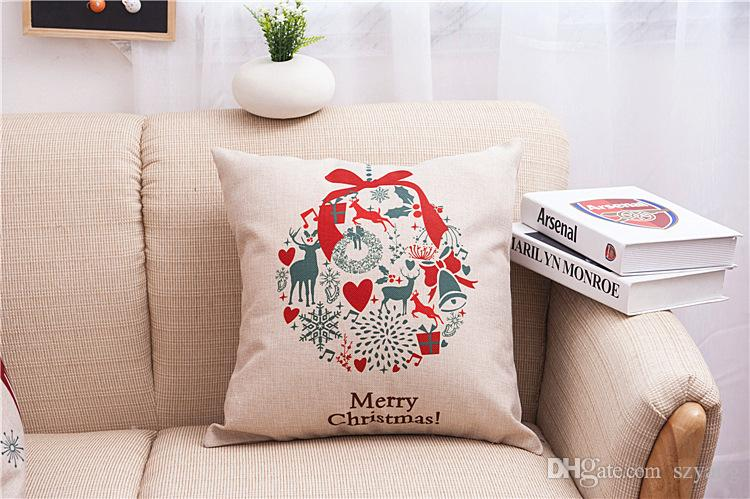 Christmas pillow case Christmas tree Santa Claus deer elk cotton linen throw pillow cushion cover pillow cover wholesale.