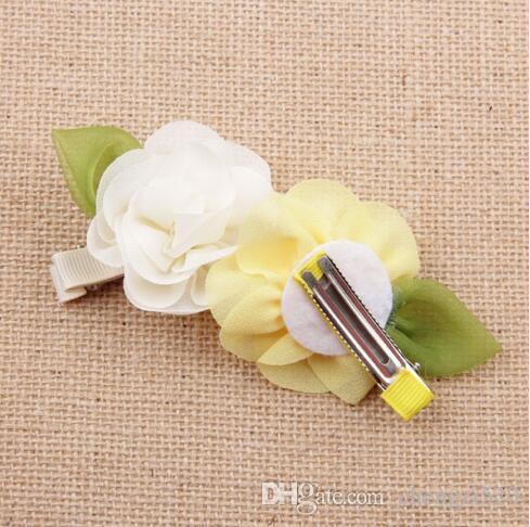 إكسسوارات الشعر إكسسوارات الأطفال Satin Rose زهرة مقاطع الشعر للطفل الفتيات Baby Products YH485