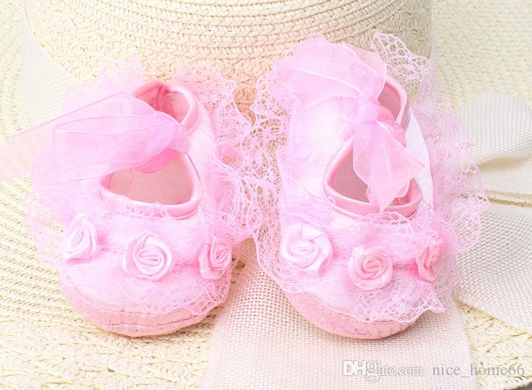 Hot Sale Cute Baby First Walker Shoes Girls Soft Bottom Shoes Infant Lace-up Lovely Princess Shoes