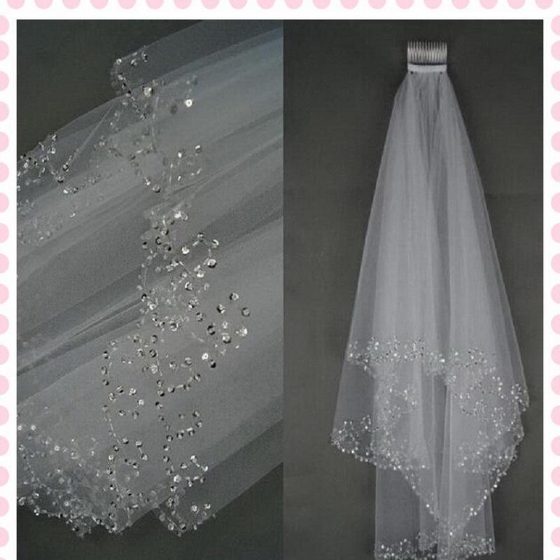 Bridal Veils Royal Cathedral Elegant Lace Edged Crystal Rhinestone Comb Wedding Bridal Veil Exquisite Handmade Beaded Veil