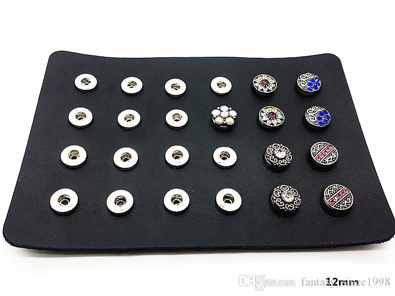 un set da donna 12 paia 24pz mix 12mm mini bottoni a pressione orecchini con porta-display